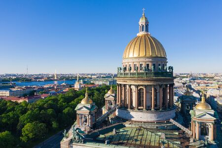 Saint Petersburg. Saint Isaac's Cathedral. Museums of Petersburg. St. Isaac's Square. Summer in St. Petersburg. St. Aerial view frome drone. Russia 写真素材 - 131536375