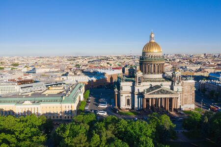 Saint Petersburg. Saint Isaacs Cathedral. Museums of Petersburg. St. Isaacs Square. Summer in St. Petersburg. St. Aerial view frome drone. Russia 写真素材