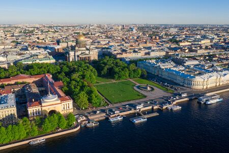 Saint Petersburg. Saint Isaac's Cathedral. Summer in St. Petersburg. St. Aerial view frome drone. Bronze Horseman. Russia Stock Photo