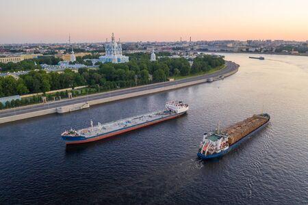 Saint Petersburg. Russia. Great at sunset. The drawbridges of Petersburg. Navigation on the Neva River. Cities of Russia. Panorama of St. Petersburg.