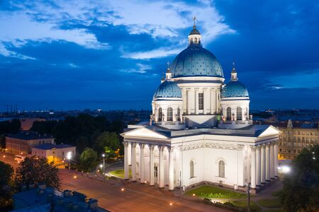 Saint Petersburg. Russia. Trinity Cathedral in St. Petersburg. Evening Izmailovsky Cathedral. St. Petersburg temples. Evening panorama of Saint Petersburg. Russian cities.