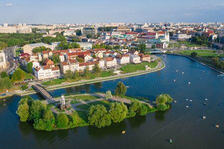 Aerial view of Nemiga, Minsk. Belarus 写真素材 - 131536493
