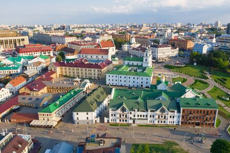 Panoramic view of the historical center of Minsk. Belarus.