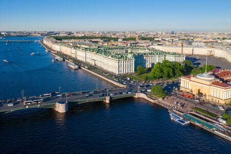 Aerial view cityscape of city center, Palace square, State Hermitage museum (Winter Palace), Neva river. Saint Petersburg skyline. SPb, Russia