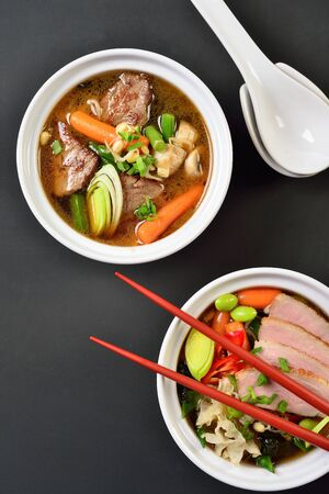 Tasty miso soup on black background 写真素材 - 131536173