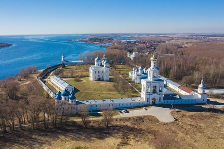 View of St. Yuriev Monastery temples (aerial photography). Veliky Novgorod, Russia