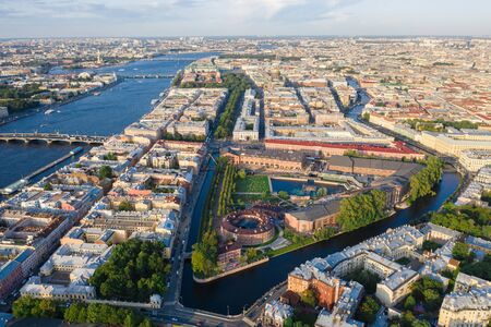 Panorama of Saint Petersburg. View from the height of the city center. Panorama of New Holland. Bridges of St. Petersburg. Russia in the summer. Cities of Russia.