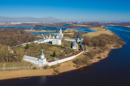 View of St. Yuriev Monastery temples (aerial photography). Veliky Novgorod, Russia 写真素材 - 131536131