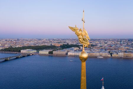 beautiful aerial view on the center of summer Saint Petersburg city through the Angel of Peter and Paul Cathedral