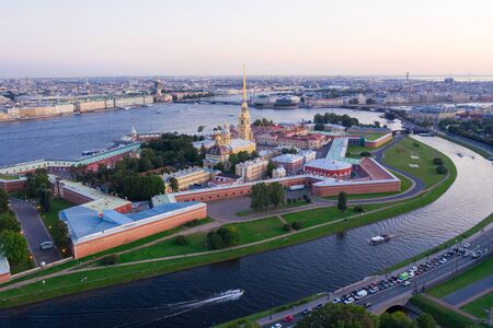 Evening aerial view, Peter and Paul Fortress, Neva river, Saint Petersburg, Russia 写真素材