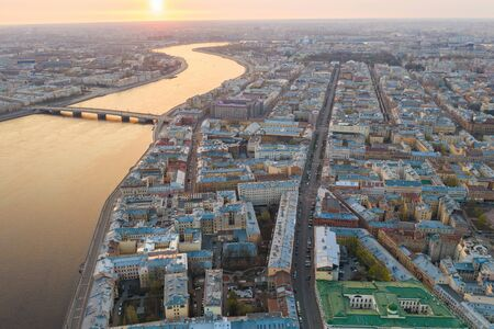 City with a helicopter. Center of St. Petersburg. City from the top. 写真素材