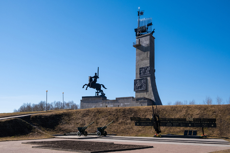 VELIKY NOVGOROD, RUSSIA - APRIL, 2019: Victory Monument in Veliky Novgorod, Russia. Erected on the Catherine hill in remembrance of the victory of the Soviet Union over the fascist invaders.