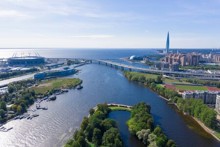 Krestovsky and Elagin island. Bridges, yachts, ships. Central park. Urban landscape. Top view aerial drone