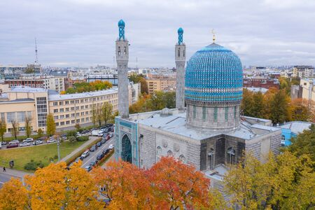 The Saint Petersburg muslim Mosque, aerial view 版權商用圖片