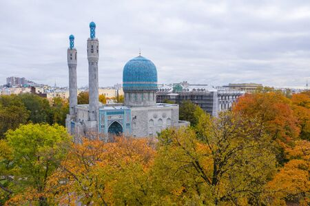 View from above of the Cathedral Mosque (shooting from a quadcopter). Saint-Petersburg, Russia