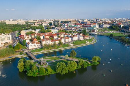 Aerial View, Cityscape Of Minsk, Belarus. Summer Season, Sunset Time. Panorama Of Nemiga District.