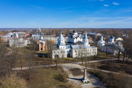 Yaroslav's Court in Veliky Novgorod. Nikolo-Dvorishchensky Cathedral, an important historical tourist site of Russia, aerial view from drone