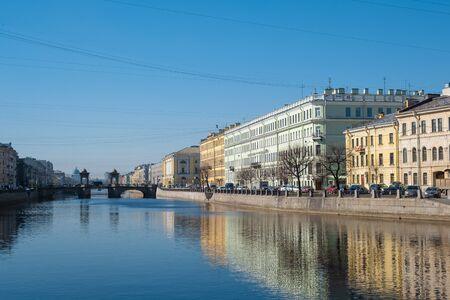City river houses panorama in Saint Petersburg, Russia. Fontanka river in Saint Petersburg, Russia.