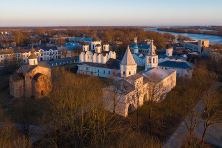 Yaroslavs Court in Veliky Novgorod. Nikolo-Dvorishchensky Cathedral, an important historical tourist site of Russia, aerial view from drone
