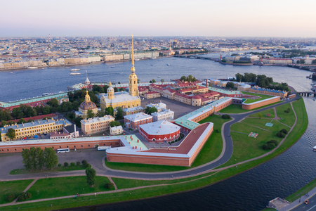 View from the drone of the Peter and Paul Fortress, St. Petersburg Editorial