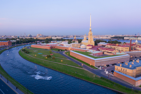 Saint Petersburg. Russia. Panorama of St. Petersburg. Peter and Paul Fortress top view. Rabbit Island. Vasilyevsky Island. Travel to Russia.