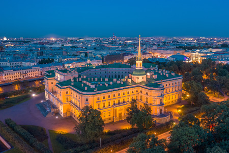 Saint-Petersburg. Russia. Panorama of St. Petersburg city at nigth. Engineering castle top view. Mikhailovsky castle. Architectural monuments of Petersburg. Museums of St. Petersburg.