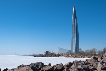 ST. PETERSBURG, RUSSIA - APRIL, 2019: Lakhta Center, the tallest skyscraper in Europe. Winter view shot.
