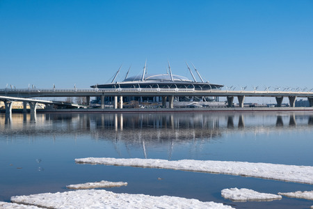 ST. PETERSBURG, RUSSIA - APRIL, 2019: A new stadium on the Krestovsky island, known as the the Saint Petersburg Arena, aka the Zenith Arena, aka the The Krestovsky Stadium