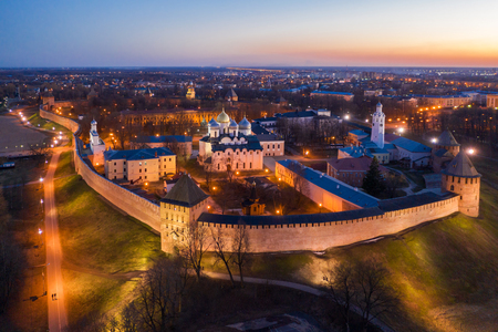 Veliky Novgorod, the old city, the ancient walls of the Kremlin, St. Sophia Cathedral. Famous tourist place of Russia.