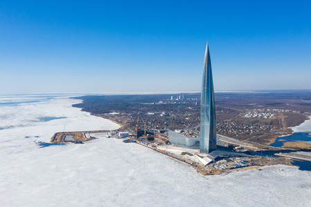ST. PETERSBURG, RUSSIA - JANUARY, 2019: Lakhta Center, the tallest skyscraper in Europe. Winter view shot from a quadcopter.