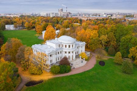Saint Petersburg. Elagin island. Park Petersburg. Russia. Autumn in Russia. Autumn Petersburg. Aerial photography of St. Petersburg