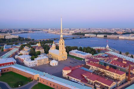 Evening aerial view, Peter and Paul Fortress, Neva river, Saint Petersburg, Russia