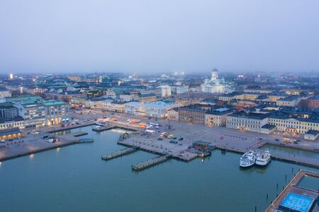 Helsinki. Finland. Bird eye view of the city from the Gulf of Finland
