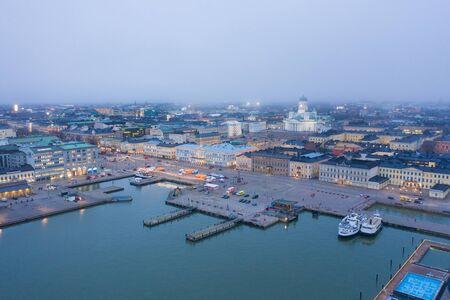 Helsinki. Finlande. Vue aérienne de la ville depuis le golfe de Finlande