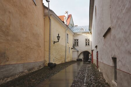 Old medieval streets of Tallinn, Baltic tourism center.