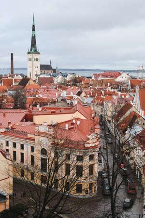 TALLINN, ESTONIA, FEBRUARY 2020: Tallinn skyline, Estonia. Aerial view of Tallinn. Tallinn old town, Estonia. 報道画像