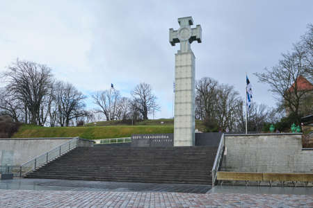 TALLINN, ESTONIA, FEBRUARY 2020: The War of Independence Victory Column in Tallinn, Estonia. The inscription in the Estonian language