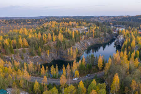 Autumn view of the quarry in the Ruskeala mountain park. A popular tourist destination in Karelia, the nature of the Russian north.
