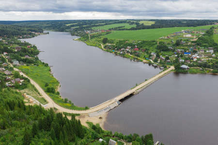 Aerial view of the Khokhlovka on the river of Kama. Perm Krai, Russia