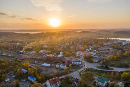Center of Sortavala, a city on the border with Finland, a tourist destination in Karelia. Ladoga lake. Top view frome drone.
