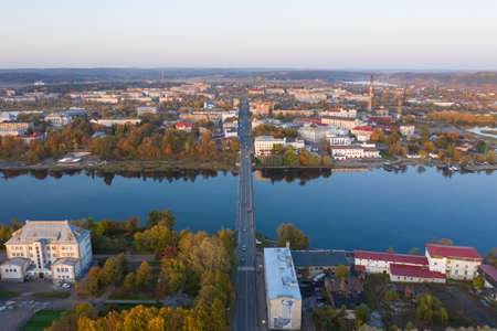 Center of Sortavala, a city on the border with Finland, a tourist destination in Karelia. Ladoga lake. Top view frome drone. Imagens - 157521938