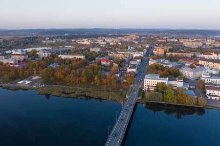 Center of Sortavala, a city on the border with Finland, a tourist destination in Karelia. Ladoga lake, Ladoga skerries. Top view frome drone.