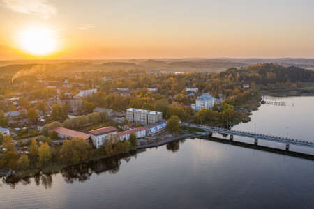 Scenic aerial view of small ancient touristic town Sortavala near Ladoga lake in Karelia. Popular historic city on the North of Russian Federation