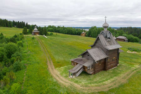 Khokhlovka, near Perm, Ural region of Russia. Wooden architecture.
