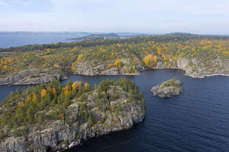 Panorama of Karelia on a Sunny day. View of Karelia from a height. nature of Russia. lake Ladoga. Islands in lake Ladoga. Trip to Russia.