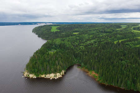 Ural nature of Russia, Kama river, bird's-eye view, drone photography.