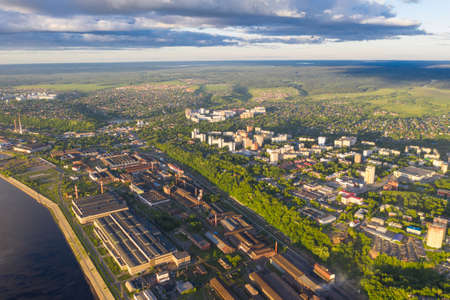 Aerial view, drone photography, panorama of Perm, Ural region of Russia. Imagens