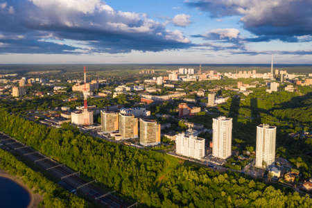 Aerial view, drone photography, panorama of Perm, Ural region of Russia. 版權商用圖片