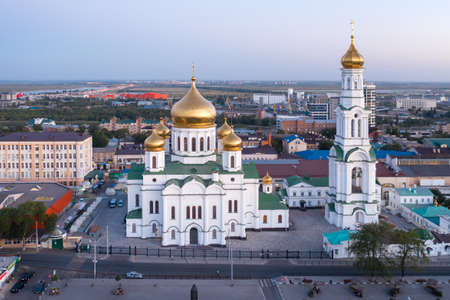 Central Market, Cathedral of the Nativity of the Blessed Virgin, drone aerial view, panoramic view of the central part of Rostov-on-Don. Imagens