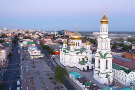 Cathedral of the Nativity of the Blessed Virgin, panoramic view of the central part of Rostov-on-Don, drone aerial view.